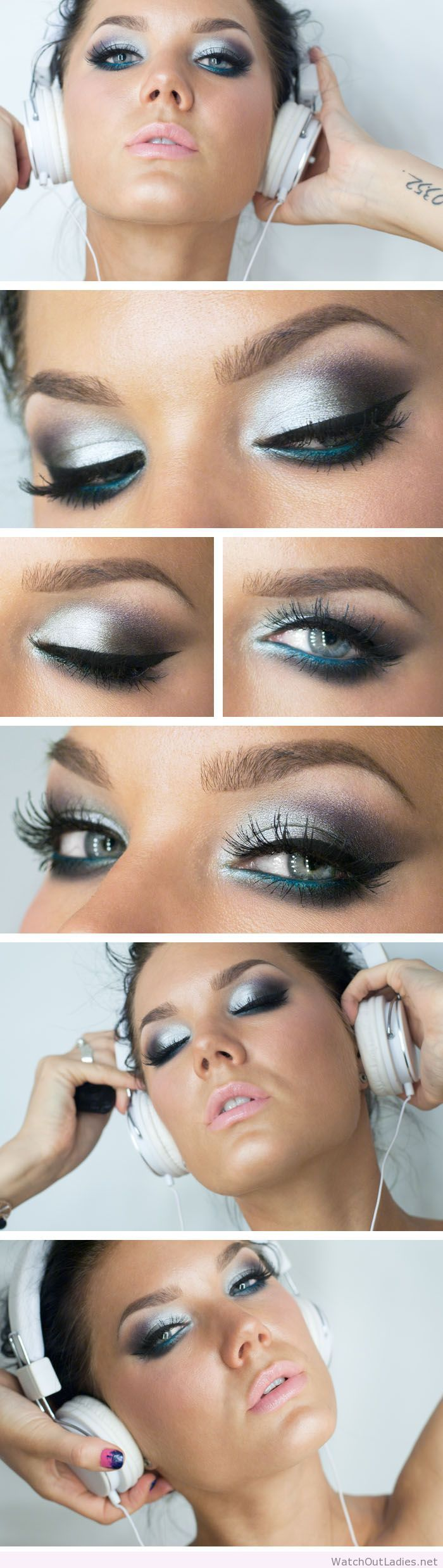 Linda Hallberg silver and blue eye makeup