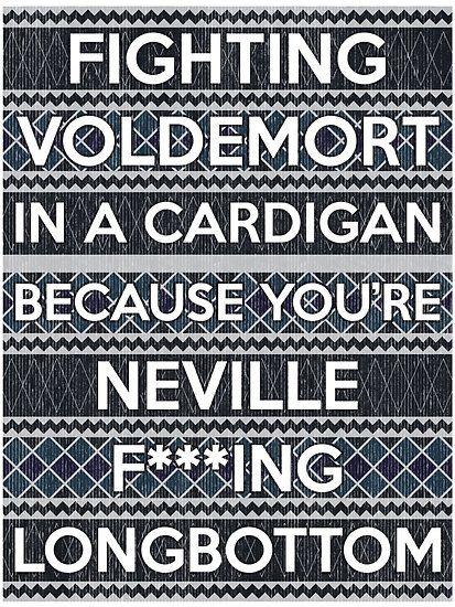 Neville Longbottom fighting Voldemort in a cardigan
