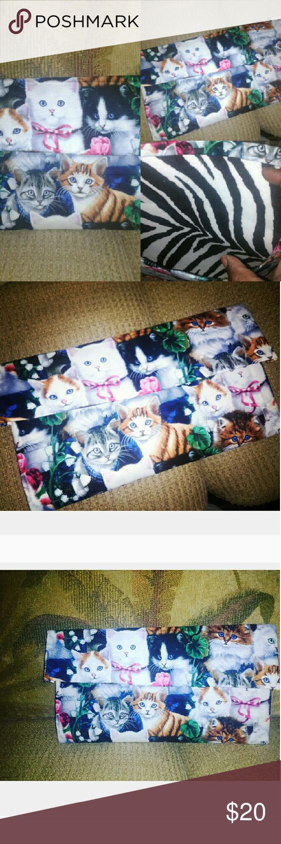 Cat lovers I made this just for you Custom clutch animal print inside Brandnew Bags Clutches & Wristlets
