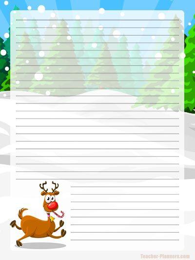 Christmas Digital Writing Paper FREE - Reindeer Theme