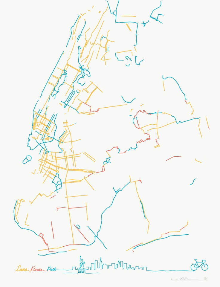 Pop Chart Lab — The Beauteous Bike Lanes of New York City: Bike Lane, New York Cities, Beauteous Bike, Bikes, Maps, Pop Charts, Charts Labs, New York City, Nyc