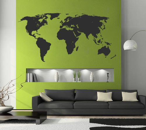 World Map One Color in vinyl decal for home wall decoration.  Apply this sticker in any flat surface (laptop, windows, doors, furniture). Deco vinyl for your home.  240 x 120 cm | 94.5 x 47.2 in $146.65
