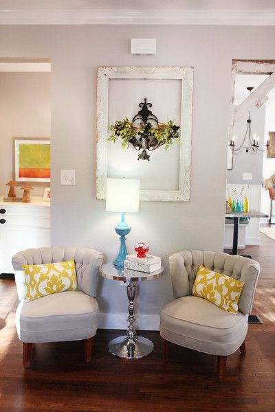 sitting area, like the rustic beams and frame The Magnolia Mom - Joanna Gaines
