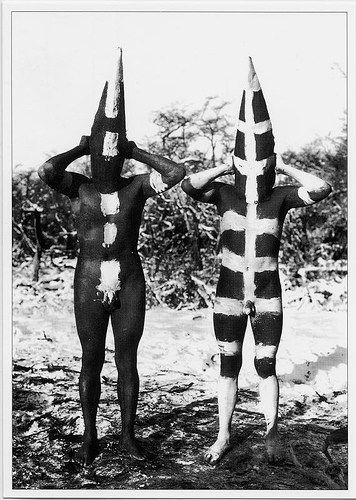 The Selk'nam people or Ona's from Tirerra del Fuego, a group of Islands now belonging to Argentina. The Selk'nam are now extinct. Body paint was a essential part of daily life, designs used for hun...