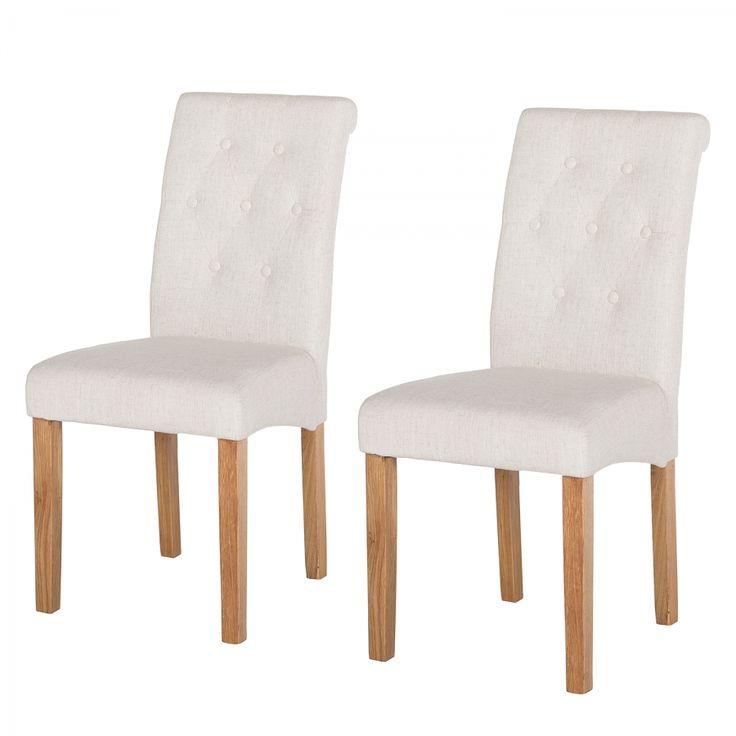 Gestoffeerde stoelen Jeanne (2-delige set) - linnen - Crème