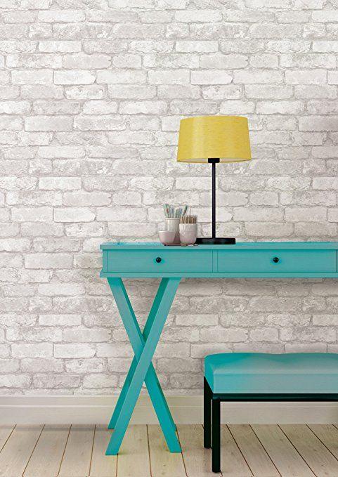 Amazon.com: Grey and White Brick Peel And Stick Wallpaper ...
