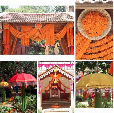 Genda flower decor , rustic south indian wedding decor , DIY decor , entrance decor ,