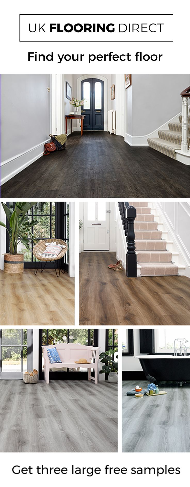 Find your floor with 3 large free samples. Luxury vinyl