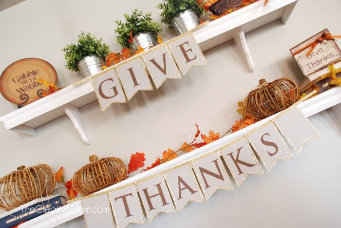Hoping to make some Thanksgiving DIY home décor? Craft your own Give Thanks Thanksgiving banner with this DIY tutorial on eighteen25
