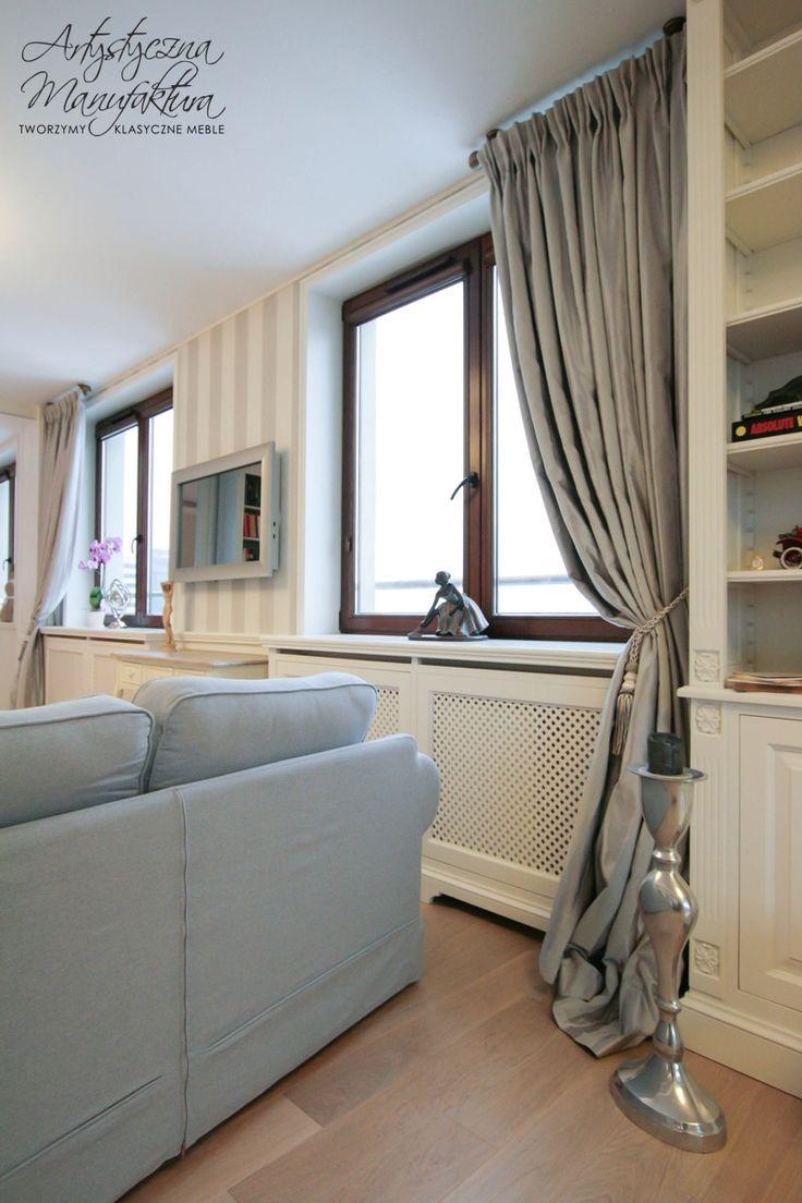 stylowa maskownica grzejnika, meble klasyczne na wymiar, white classic style heater cover, radiator cover  - wykonanie Artystyczna Manufaktura