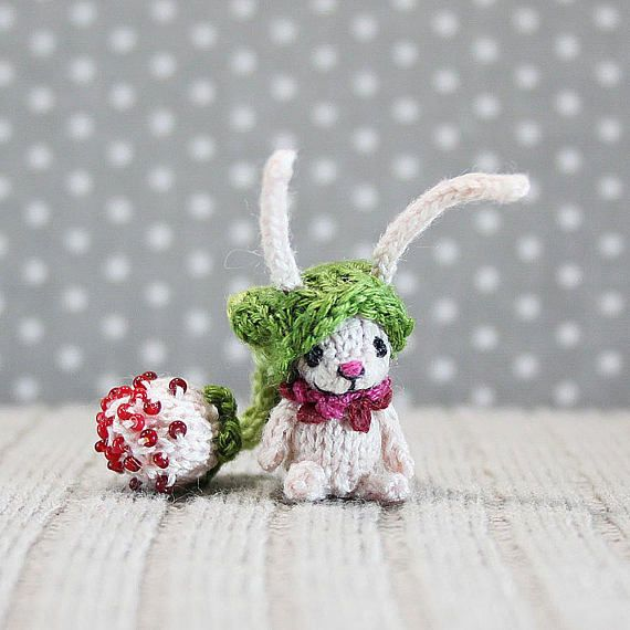 Pink Bunny in a green hat knitted bunny dollhouse miniature