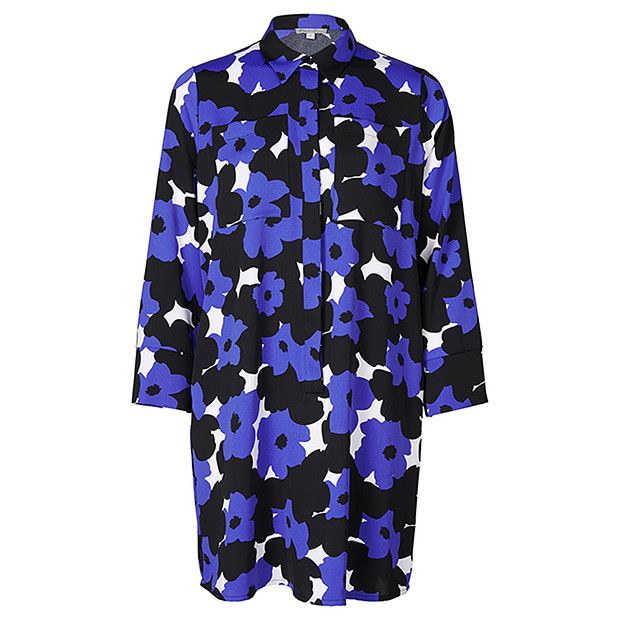 Oversized Shirt Dress - Blue Floral