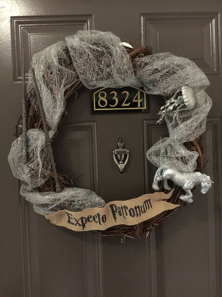 """We picked out our patronus' and made wands. Harry Potter """"Expecto Patronum"""" wreath."""