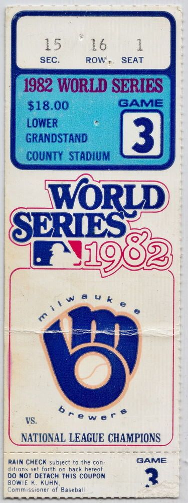 1982 world series game 3 nl champs milwaukee brewers county stadium ticket stub from $65.44