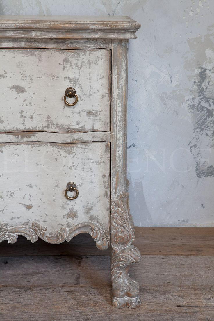 Roma Commode in stone finish with pickled white details from Eloquence, Inc. #homefurnishings #furniture