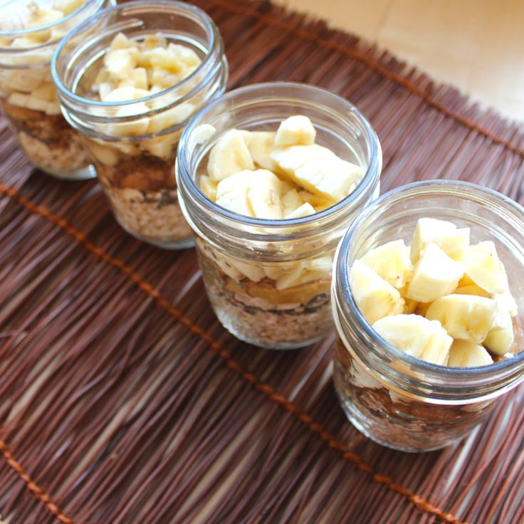 Vegan Peanut Butter and Banana Overnight Oats; Shake & Go 1/3 – 1/2 cup rolled oats 1 tsp chia seeds 1 tbsp peanut butter 1/4 tsp cinnamon 1/8 tsp vanilla extract 1/2 medium banana, chopped into very small cubes 1/2 cup non-dairy milk (soy or almond)