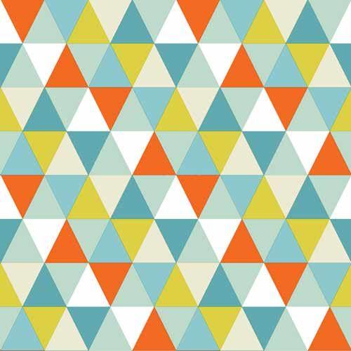 Geometriskt mönster i turkos, orange och grönt