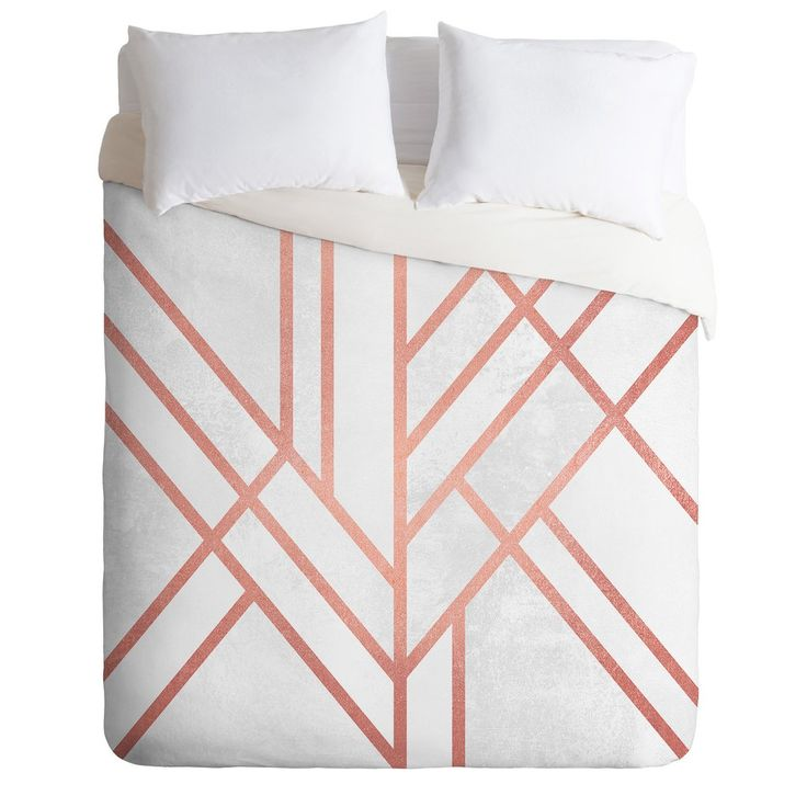Elisabeth Fredriksson Art Deco Rose Gold Duvet Cover | DENY Designs Home Accessories