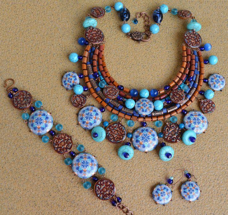 """Купить Комплект """"Марракеш"""" - марокко, калейдоскоп, медный, бирюзовый, синий, терракотовый, узоры, орнамент"""