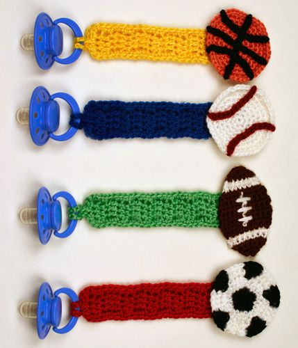Crochet Pattern: Sporty Pacifier Holders
