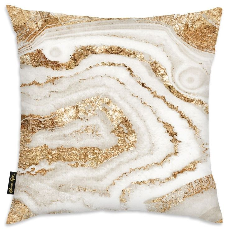 Oliver Gal 'Gold Agate' Decorative Throw Pillow, Gold, Size 18 x 18 (Microfiber, Abstract)