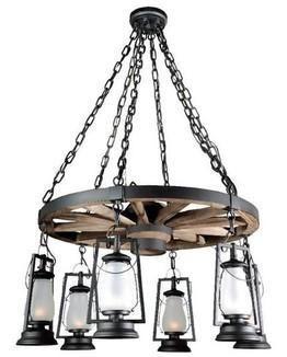 49er Ext. Bottom Lanterns Wagon Wheel Chandelier