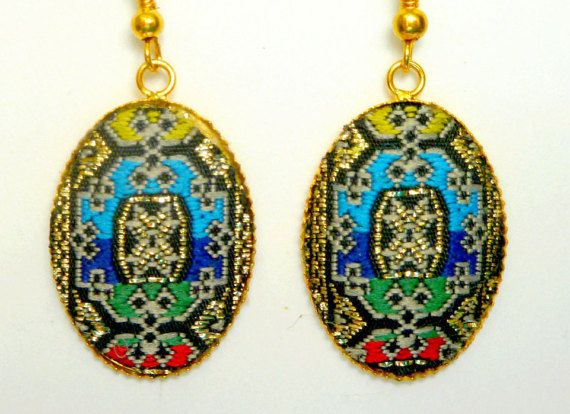 Fabric Vintage Earrings Jacquard Fabric Summer Collection Oriental Design  Earrings Gold Metal Earrings For Refined Woman