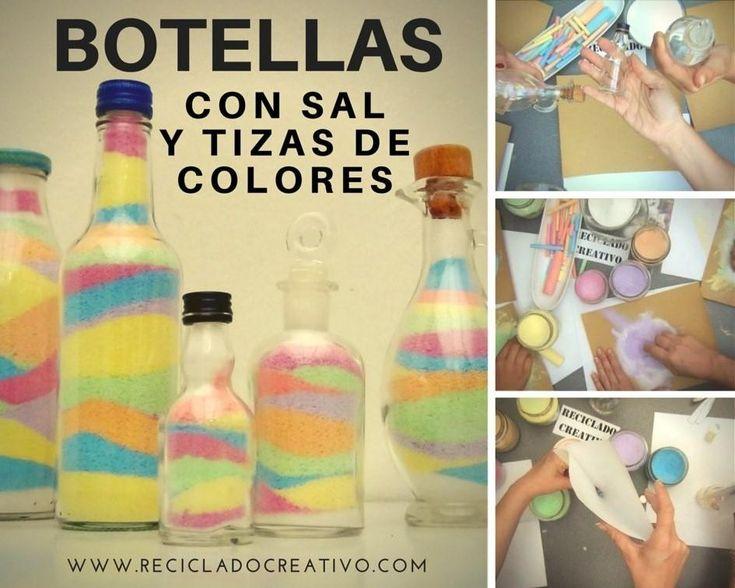 reutilizando botellas de cristal con tizas de colores (4)