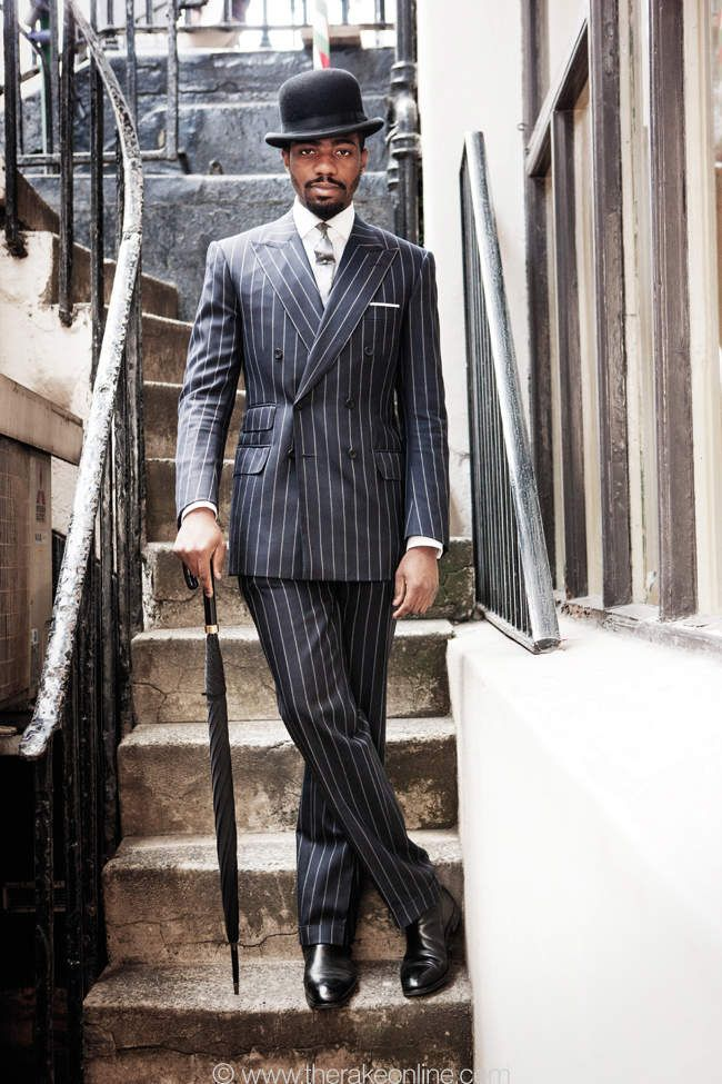 A Life Well Suited in a nice double breasted pinstriped #suit #menswear #gentleman  If only all city gents dressed like this , life would be good .