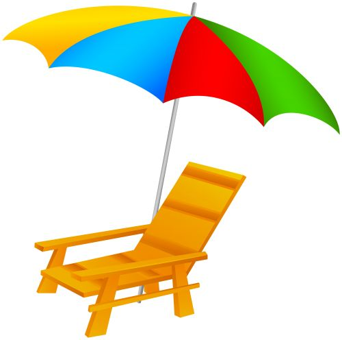 Beach Umbrella And Chair PNG Clip Art