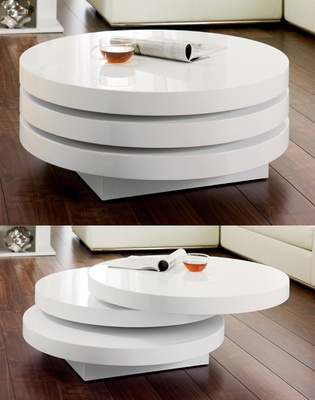 Its all in the name with this compact triple level coffee table that can extend to nearly twice its width with a gentle swivel. Great for parties or when you just need extra space.