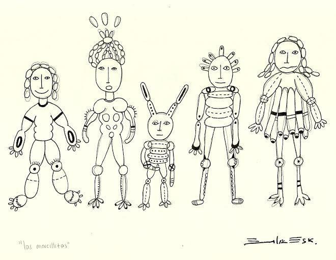 """""""Morcillitas"""" Dibujo en rapidografo, firma inferior. Autoria: Emilia Escalante Ariza"""