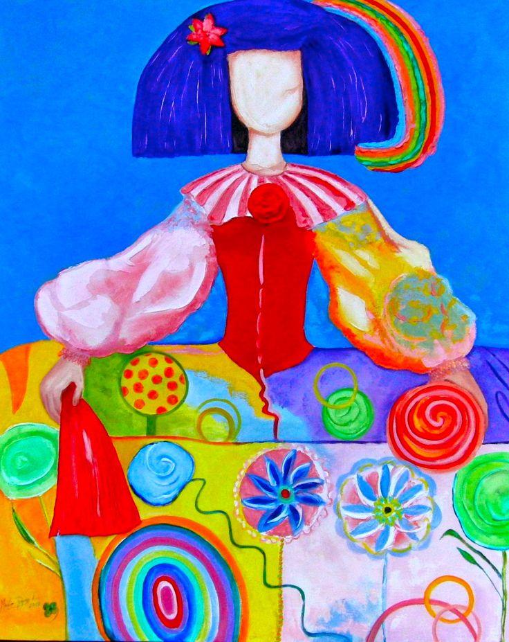 Menina Natalie (2013) Oil on Board/Mixed Technique 181x165 cm by Maite Rodriguez maiterodriguez.es