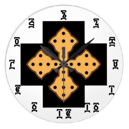 Ethiopian Bible Time - Round (Large) Wall Clock - black gifts unique cool diy customize personalize
