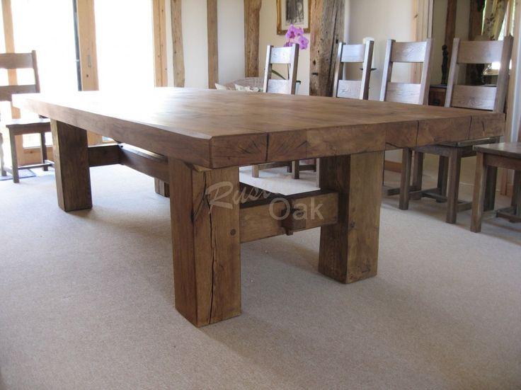 Oak Beam H Base Dining Table - Rustic Oak Furniture