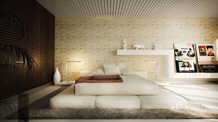 Pareti in pietra per camera da letto moderna 01