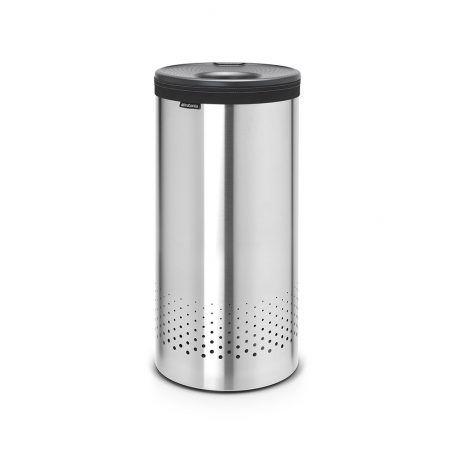 Brabantia – Wäschetonne – Mattierter Stahl mit Dunkelgrauem Kunststoffdeckel – 35 Liter