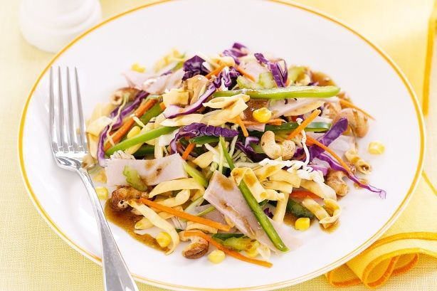 Keep the packaged ingredients for this crunchy salad in your desk drawer then just bring the fresh ingredients from home.