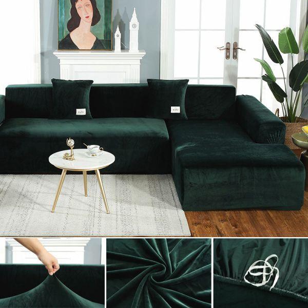 31 76 42 Off Plush Fabirc Elastic Sofa Cover Solid L Shape Sofa Covers Velvet For Living Room Stretch Slipco In 2020 L Shaped Sofa Slip Covers Couch Couch Covers