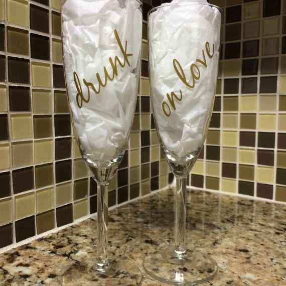 Best Toasting Glasses For Wedding Images On Pinterest - Vinyl decals for glassware