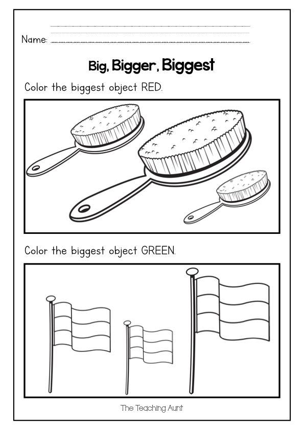 Big Bigger Biggest Free Printable The Teaching Aunt In 2020 Free Preschool Worksheets Free Math Worksheets Preschool Worksheets