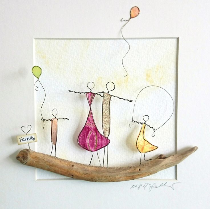 Wire Art: Copper wire with decoupage paper on a landscape of driftwood...