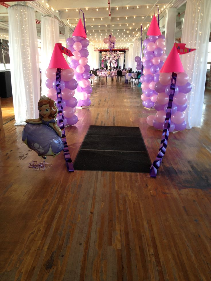 Balloon castle entrance at sofia the first birthday party for 5th birthday decoration ideas