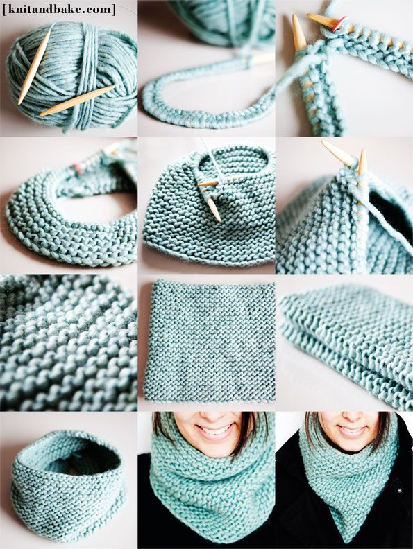 free pattern for turquoise garter stitch one piece knitting cowl, knit in the round