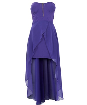 Ax Paris Purple Dip Hem Bandeau Dress