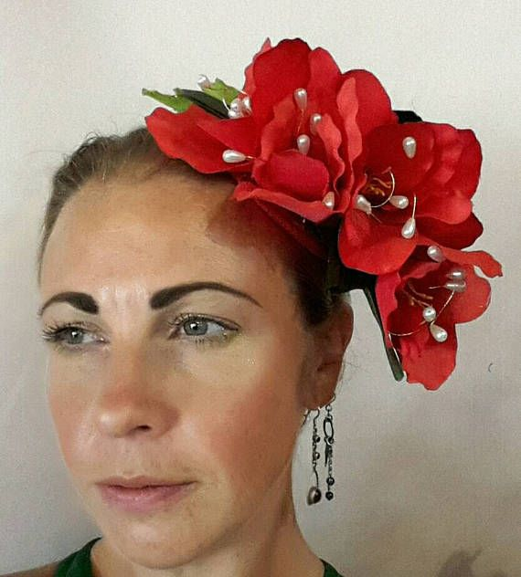 Check out this item in my Etsy shop https://www.etsy.com/uk/listing/524730202/red-flower-fascinator-with-pearls