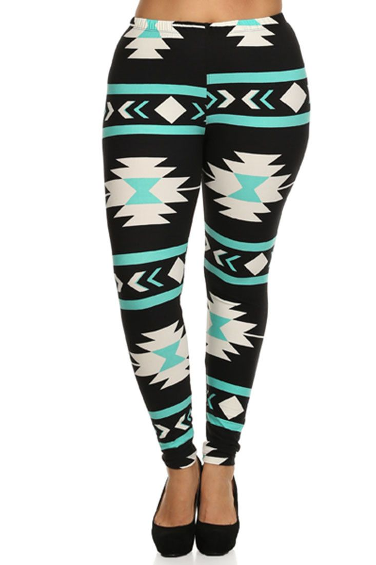 Dress up your outfit with this mint aztec print leggings. Pair it with one of your casual tops and you are ready for another comfortable day. - Fabric: Polyester | Spandex - Mint aztec printed legging