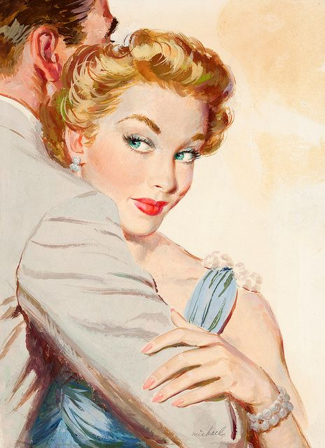 Now just who does she have her eye on? #vintage #1950s #couple #woman #art #painting