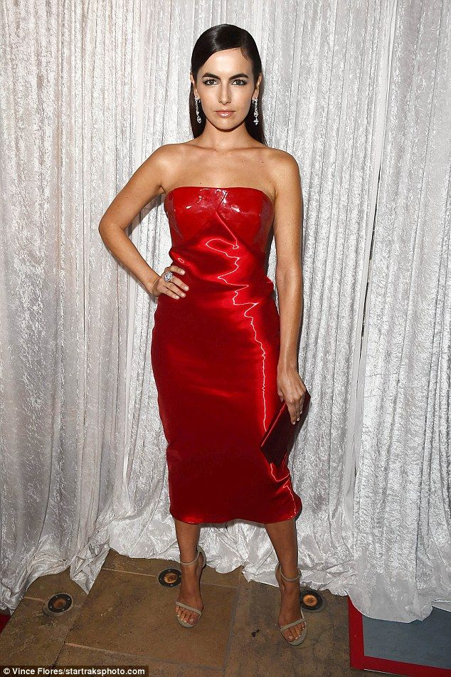 Classic: Camilla Belle stunned in a strapless red dress as she hit the Inaugural Los Angeles Gala Dinner in support of The Fred Hollows Foundation at the Dream Hotel in LA on Wednesday