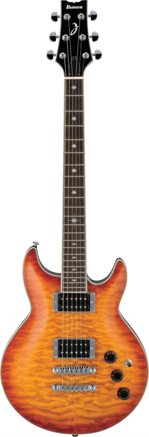 Ibanez ARX320 Guitar: Simple and effective, the 22 frets, 24.75 inch scale ARX is a double cutaway guitar that was built for traditional rock players. The mahogany with quilted maple top body is capable of producing the traditional warm tones with a fast neck, superior hardware, and customized pickups.